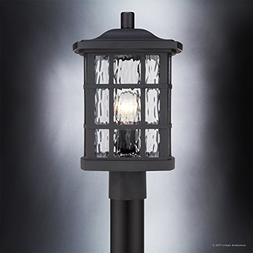 Luxury Craftsman Outdoor Post Light Medium Size 165H X 95W With Tudor Style Elements Highly Detailed Design High End Black Silk Finish And Water Glass UQL1246 By Urban Ambiance 0 2