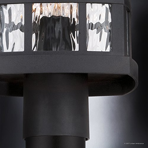 Luxury Craftsman Outdoor Post Light Medium Size 165H X 95W With Tudor Style Elements Highly Detailed Design High End Black Silk Finish And Water Glass UQL1246 By Urban Ambiance 0 3