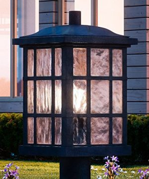 Luxury Craftsman Outdoor Post Light Medium Size 165H X 95W With Tudor Style Elements Highly Detailed Design High End Black Silk Finish And Water Glass UQL1246 By Urban Ambiance 0 300x360