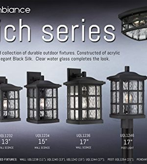 Luxury Craftsman Outdoor Post Light Medium Size 165H X 95W With Tudor Style Elements Highly Detailed Design High End Black Silk Finish And Water Glass UQL1246 By Urban Ambiance 0 4 300x333
