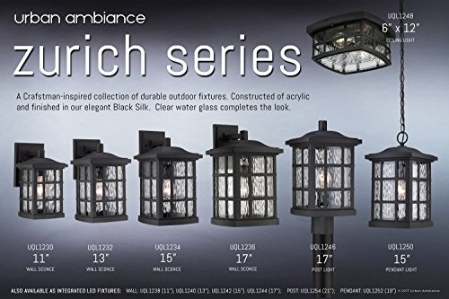 Luxury Craftsman Outdoor Post Light Medium Size 165H X 95W With Tudor Style Elements Highly Detailed Design High End Black Silk Finish And Water Glass UQL1246 By Urban Ambiance 0 4