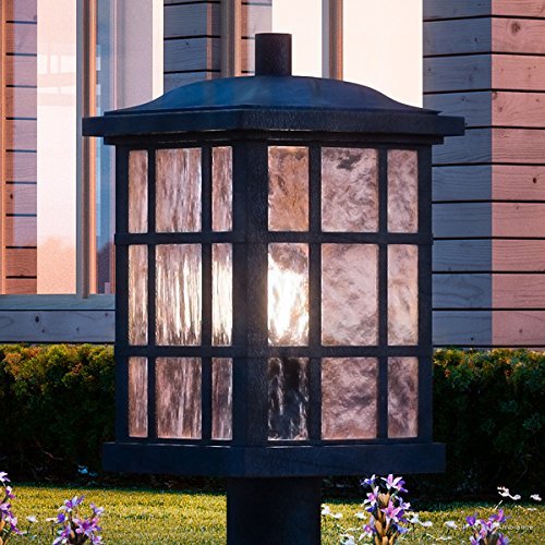 Luxury Craftsman Outdoor Post Light Medium Size 165H X 95W With Tudor Style Elements Highly Detailed Design High End Black Silk Finish And Water Glass UQL1246 By Urban Ambiance 0