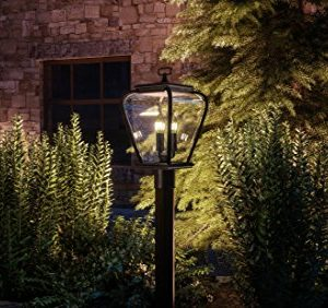 Luxury French Country Outdoor Post Light Medium Size 18H X 95W With Mediterranean Style Elements Soft And Simple Design Inky Black Silk Finish And Seeded Glass UQL1203 By Urban Ambiance 0 0 300x282