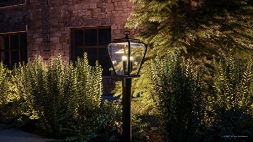 Luxury French Country Outdoor Post Light Medium Size 18H X 95W With Mediterranean Style Elements Soft And Simple Design Inky Black Silk Finish And Seeded Glass UQL1203 By Urban Ambiance 0 0