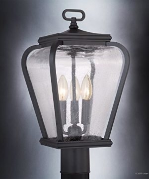 Luxury French Country Outdoor Post Light Medium Size 18H X 95W With Mediterranean Style Elements Soft And Simple Design Inky Black Silk Finish And Seeded Glass UQL1203 By Urban Ambiance 0 1 300x360