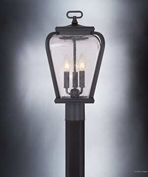 Luxury French Country Outdoor Post Light Medium Size 18H X 95W With Mediterranean Style Elements Soft And Simple Design Inky Black Silk Finish And Seeded Glass UQL1203 By Urban Ambiance 0 2 300x360