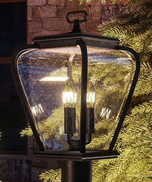 Luxury French Country Outdoor Post Light Medium Size 18H X 95W With Mediterranean Style Elements Soft And Simple Design Inky Black Silk Finish And Seeded Glass UQL1203 By Urban Ambiance 0 300x360