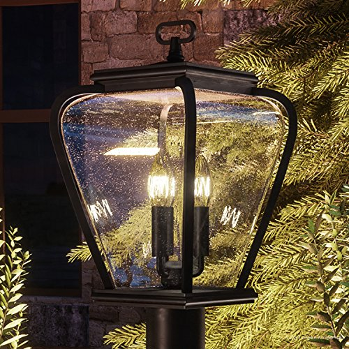 Luxury French Country Outdoor Post Light Medium Size 18H X 95W With Mediterranean Style Elements Soft And Simple Design Inky Black Silk Finish And Seeded Glass UQL1203 By Urban Ambiance 0