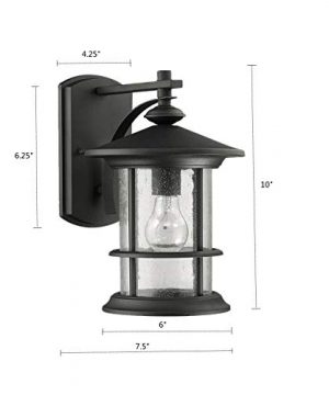 MICSIU Outdoor Wall Light Fixture Exterior Wall Mount Lantern Waterproof Vintage Wall Sconce With Clear Seedy Glass For Front Porch Patio Backyard Textured Black 1 Pack 0 0 300x360