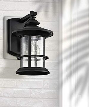MICSIU Outdoor Wall Light Fixture Exterior Wall Mount Lantern Waterproof Vintage Wall Sconce With Clear Seedy Glass For Front Porch Patio Backyard Textured Black 1 Pack 0 1 300x360