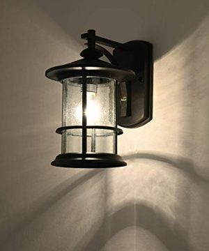 MICSIU Outdoor Wall Light Fixture Exterior Wall Mount Lantern Waterproof Vintage Wall Sconce With Clear Seedy Glass For Front Porch Patio Backyard Textured Black 1 Pack 0 2 300x360