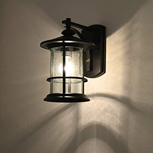 MICSIU Outdoor Wall Light Fixture Exterior Wall Mount Lantern Waterproof Vintage Wall Sconce With Clear Seedy Glass For Front Porch Patio Backyard Textured Black 1 Pack 0 2