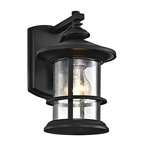 MICSIU Outdoor Wall Light Fixture Exterior Wall Mount Lantern Waterproof Vintage Wall Sconce With Clear Seedy Glass For Front Porch Patio Backyard Textured Black 1 Pack 0