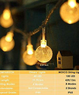 MOICO Globe String Lights For Bedroom 43ft 100 LED 8 Modes Plug In Decorative Lights Waterproof Fairy String Lights For Patio Indoor Outdoor Christmas Wedding Party Connectable Warm White 0 0 300x360
