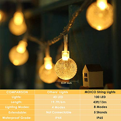 MOICO Globe String Lights For Bedroom 43ft 100 LED 8 Modes Plug In Decorative Lights Waterproof Fairy String Lights For Patio Indoor Outdoor Christmas Wedding Party Connectable Warm White 0 0