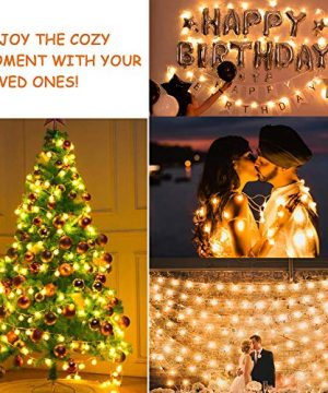 MOICO Globe String Lights For Bedroom 43ft 100 LED 8 Modes Plug In Decorative Lights Waterproof Fairy String Lights For Patio Indoor Outdoor Christmas Wedding Party Connectable Warm White 0 3 300x360