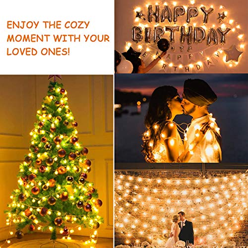 MOICO Globe String Lights For Bedroom 43ft 100 LED 8 Modes Plug In Decorative Lights Waterproof Fairy String Lights For Patio Indoor Outdoor Christmas Wedding Party Connectable Warm White 0 3