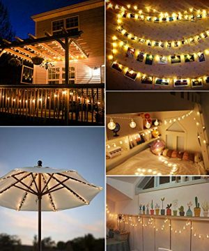 MOICO Globe String Lights For Bedroom 43ft 100 LED 8 Modes Plug In Decorative Lights Waterproof Fairy String Lights For Patio Indoor Outdoor Christmas Wedding Party Connectable Warm White 0 4 300x360