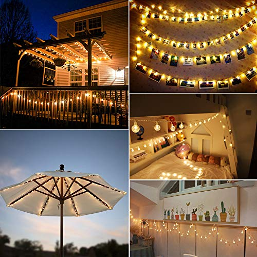 MOICO Globe String Lights For Bedroom 43ft 100 LED 8 Modes Plug In Decorative Lights Waterproof Fairy String Lights For Patio Indoor Outdoor Christmas Wedding Party Connectable Warm White 0 4