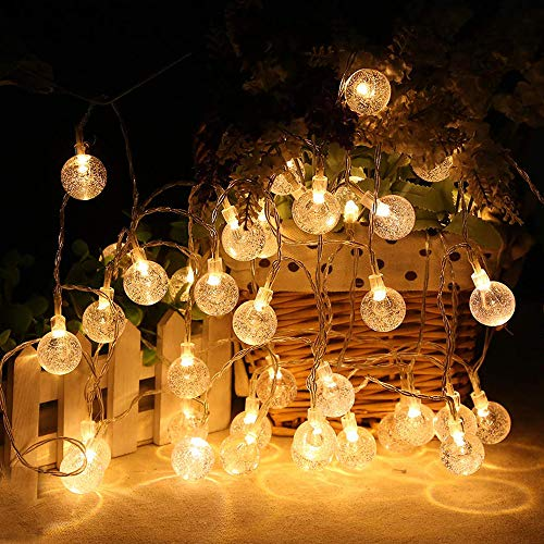 MOICO Globe String Lights For Bedroom 43ft 100 LED 8 Modes Plug In Decorative Lights Waterproof Fairy String Lights For Patio Indoor Outdoor Christmas Wedding Party Connectable Warm White 0