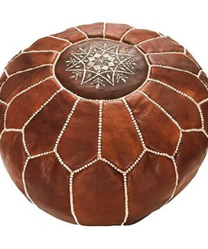 Marrakesh Gallery Moroccan Pouf Genuine Goatskin Leather Bohemian Living Room Decor Hassock Ottoman Footstool Round Large Ottoman Pouf Unstuffed Includes Stuffing Instructions 0 300x360