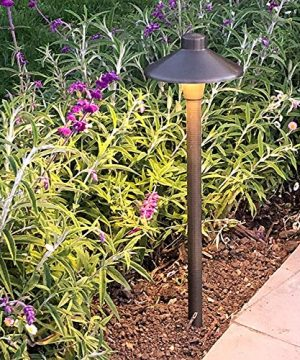 MarsLG BRS1 ETL Listed Solid Brass Low Voltage Landscape Accent Path And Area Light With 65 Shade And 18 Stem In Antique Brass Finish Ground Spike And Free G4 LED Bulb 2 Pack 36PL01BSx2 0 2 300x360