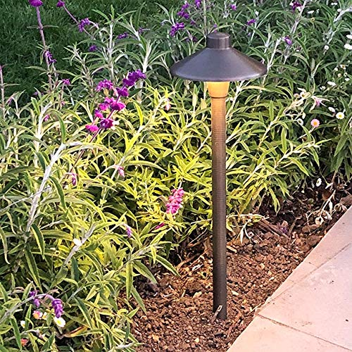 MarsLG BRS1 ETL Listed Solid Brass Low Voltage Landscape Accent Path And Area Light With 65 Shade And 18 Stem In Antique Brass Finish Ground Spike And Free G4 LED Bulb 2 Pack 36PL01BSx2 0 2