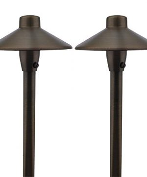 MarsLG BRS1 ETL Listed Solid Brass Low Voltage Landscape Accent Path And Area Light With 65 Shade And 18 Stem In Antique Brass Finish Ground Spike And Free G4 LED Bulb 2 Pack 36PL01BSx2 0 300x360