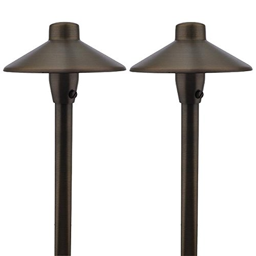 MarsLG BRS1 ETL Listed Solid Brass Low Voltage Landscape Accent Path And Area Light With 65 Shade And 18 Stem In Antique Brass Finish Ground Spike And Free G4 LED Bulb 2 Pack 36PL01BSx2 0