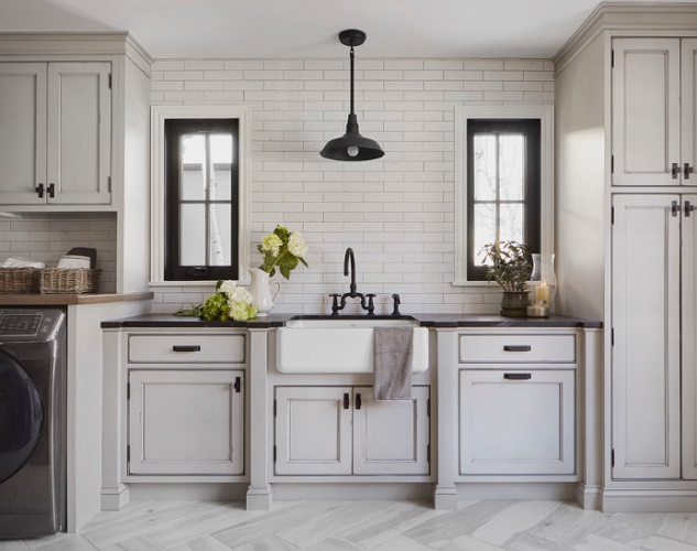 Modern Farmhouse Laundry by Sanctuary Kitchen and Bath Design