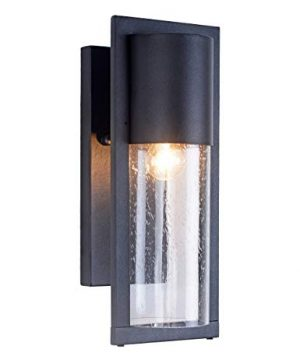 Modern Farmhouse Outdoor Wall Light Waterproof Rust Proof Porch Light Exterior Wall Lantern Black Finish With Seed Glass For House Porch Patio Deck 142 Height 0 300x360