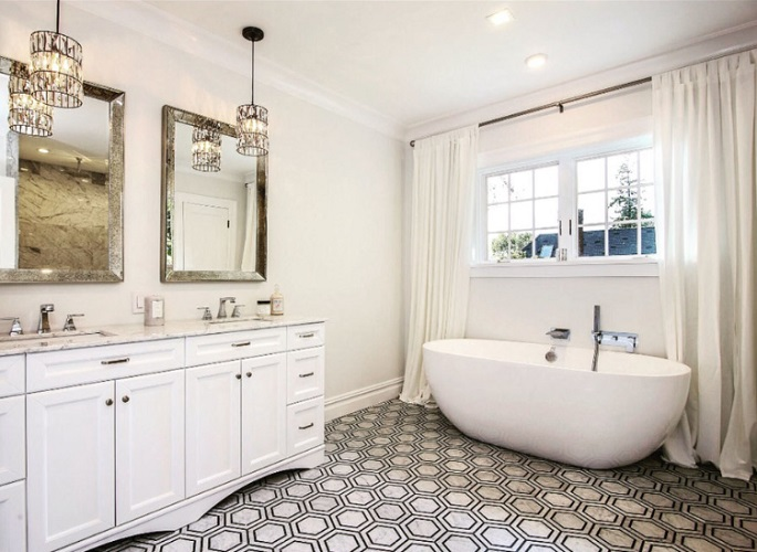 Modern Farmhouse Style Bathrooms by DLT Interiors-Debbie Travin