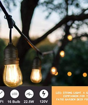 Mpow 49ft Led Outdoor String Lights Heavy Duty Waterproof Dimmable Led String Lights 15 Hanging Sockets 15W Edison Vintage Bulb Commercial Grade Create Cafe Ambience For Patio Backyard Black 0 0 300x360