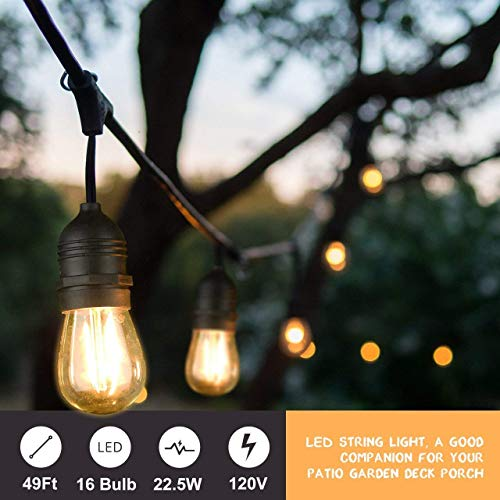 Mpow 49ft Led Outdoor String Lights Heavy Duty Waterproof Dimmable Led String Lights 15 Hanging Sockets 15W Edison Vintage Bulb Commercial Grade Create Cafe Ambience For Patio Backyard Black 0 0