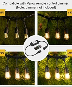 Mpow 49ft Led Outdoor String Lights Heavy Duty Waterproof Dimmable Led String Lights 15 Hanging Sockets 15W Edison Vintage Bulb Commercial Grade Create Cafe Ambience For Patio Backyard Black 0 1 300x360