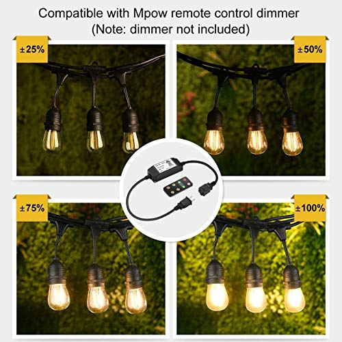Mpow 49ft Led Outdoor String Lights Heavy Duty Waterproof Dimmable Led String Lights 15 Hanging Sockets 15W Edison Vintage Bulb Commercial Grade Create Cafe Ambience For Patio Backyard Black 0 1
