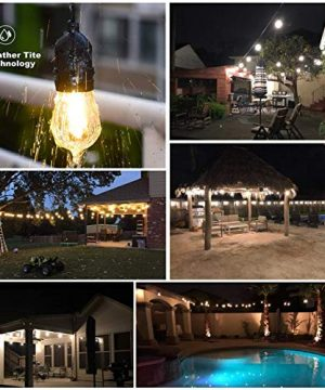 Mpow 49ft Led Outdoor String Lights Heavy Duty Waterproof Dimmable Led String Lights 15 Hanging Sockets 15W Edison Vintage Bulb Commercial Grade Create Cafe Ambience For Patio Backyard Black 0 2 300x360