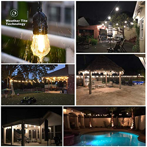 Mpow 49ft Led Outdoor String Lights Heavy Duty Waterproof Dimmable Led String Lights 15 Hanging Sockets 15W Edison Vintage Bulb Commercial Grade Create Cafe Ambience For Patio Backyard Black 0 2