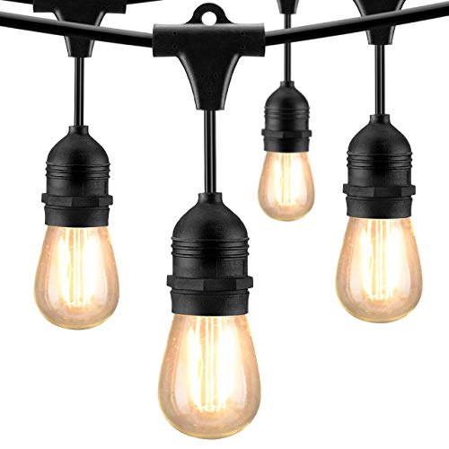 Mpow 49ft Led Outdoor String Lights Heavy Duty Waterproof Dimmable Led String Lights 15 Hanging Sockets 15W Edison Vintage Bulb Commercial Grade Create Cafe Ambience For Patio Backyard Black 0