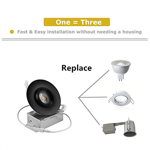 NICKLED 12W 4 Inches LED Gimbal Downlights Directional Adjustable Dimmable LED Retrofit Recessed Lighting Fixture75W Replacement1100Lumens 4Pack Natural White5000K 0 3