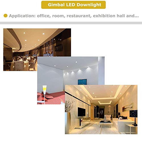 NICKLED 12W 4 Inches LED Gimbal Downlights Directional Adjustable Dimmable LED Retrofit Recessed Lighting Fixture75W Replacement1100Lumens 4Pack Natural White5000K 0 5