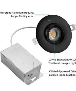 NICKLED 12W 4 Inches Led Gimbal Downlights Directional Adjustable Dimmable LED Retrofit Recessed Lighting Fixture100W Replacement 5000K Natural White 1100Lumens 1 Natural White5000K Ra90 0 0 300x360