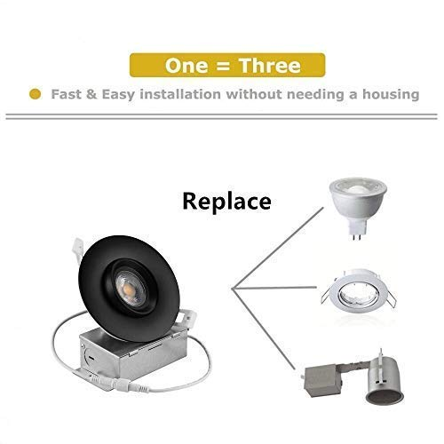 NICKLED 12W 4 Inches Led Gimbal Downlights Directional Adjustable Dimmable LED Retrofit Recessed Lighting Fixture100W Replacement 5000K Natural White 1100Lumens 1 Natural White5000K Ra90 0 3