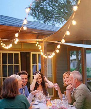 Newpow Outdoor String Lights 25ft With 26 Dimmable Shatterproof Waterproof LED G40 Globe Bulbs 1 Spare Clear Plastic 1W 60LM 2200K Warm Glow For IndoorOutdoor Decoration And Lighting Black 0 0 300x360