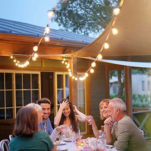 Newpow Outdoor String Lights 25ft With 26 Dimmable Shatterproof Waterproof LED G40 Globe Bulbs 1 Spare Clear Plastic 1W 60LM 2200K Warm Glow For IndoorOutdoor Decoration And Lighting Black 0 0