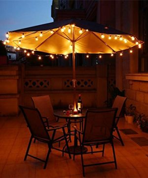 Newpow Outdoor String Lights 25ft With 26 Dimmable Shatterproof Waterproof LED G40 Globe Bulbs 1 Spare Clear Plastic 1W 60LM 2200K Warm Glow For IndoorOutdoor Decoration And Lighting Black 0 3 300x360