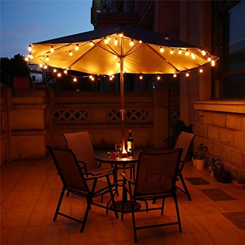 Newpow Outdoor String Lights 25ft With 26 Dimmable Shatterproof Waterproof LED G40 Globe Bulbs 1 Spare Clear Plastic 1W 60LM 2200K Warm Glow For IndoorOutdoor Decoration And Lighting Black 0 3