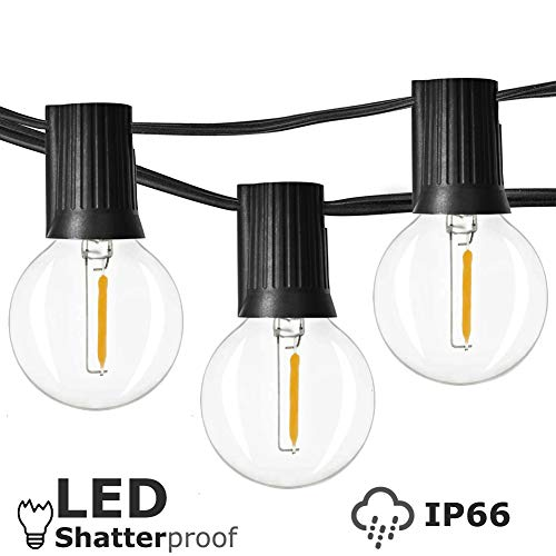 Newpow Outdoor String Lights 25ft With 26 Dimmable Shatterproof Waterproof LED G40 Globe Bulbs 1 Spare Clear Plastic 1W 60LM 2200K Warm Glow For IndoorOutdoor Decoration And Lighting Black 0