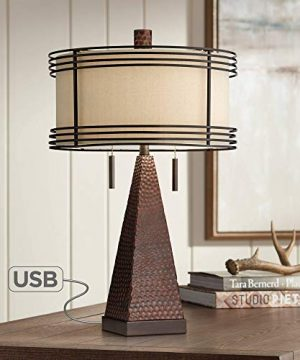 Niklas Industrial Table Lamp With USB Charging Port Rustic Hammered Bronze Metal Double Drum Shade For Living Room Bedroom Bedside Nightstand Office Family Franklin Iron Works 0 300x360