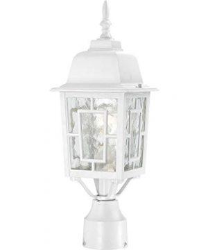 Nuvo Lighting 604927 Banyon One Light Post Lantern 100 Watt A19 Max Clear Water Glass White Outdoor Fixture 0 300x360